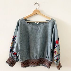Gap Embroidered Long Sleeve Smocked Chambray Top